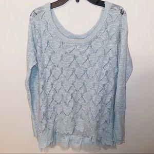 🍒 American Rag light blue knit lace sweater …